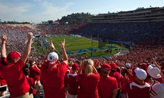 Nebraska fans cheer as the Huskers take the field against UCLA at the Rose Bowl.  By: REBECCA S. GRATZ/THE WORLD-HERALD