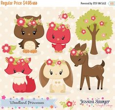 80% OFF - INSTANT DOWNLOAD, fall woodland clipart and vectors for personal and commercial use