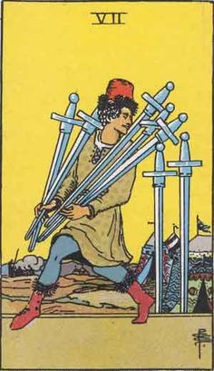 Seven of Swords. The Original Rider Waite Tarot Card Deck, by Arthur Edward Waite & Pamela Colman Smith.