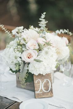 @FleursdeFrance @ColeDrakeEvents @Calistoga Ranch @TravisHoehnePhotography. White blush rustic elegance centerpiece in wood box. Fleurs de France - Sonoma, Napa Valley, Wine Country Wedding Florist & Event Design #weddingflowers #destinationweddingnapa #fleursdefrance #napaweddingflorist #calistogaranchwedding #napawedding #sonomawedding #fleursdefrancenapa #sonomaweddingflorist #napaflorist #eventdesigner #napaluxurywedding #luxuryweddingnapa #californiawedding