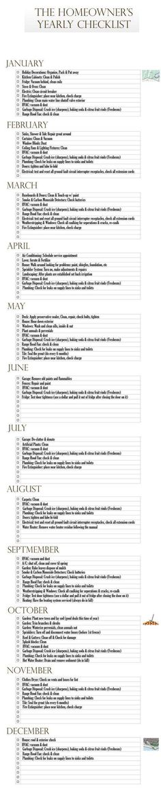 yearly to do list for the house