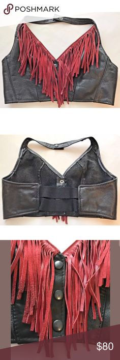 """Cropped Fringed Leather Halter Vest Very good condition, see photos. Approximate flat measurements are armpit to armpit 17"""", bottom hem under bust 15"""". Three snaps down the front and two at the neck. I am a size Medium 36D and the elastic back would need taken in for an optimum fit. My thoughts are this vest would fit a size 38D or 38DD the best without alterations, possibly a 40 as the back is stretchy. Hillside Leather Jackets & Coats Vests"""