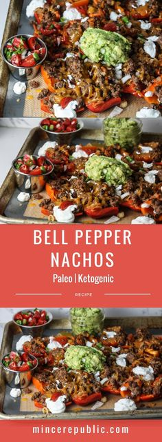 Bell Pepper Nachos recipe with Pico de Gallo and Guacamole Paleo Keogenic low carb mincerepublic. Mexican Food Recipes, Diet Recipes, Cooking Recipes, Healthy Recipes, Recipes Dinner, Lunch Recipes, Dinner Ideas, Paleo Food, Diabetic Recipes