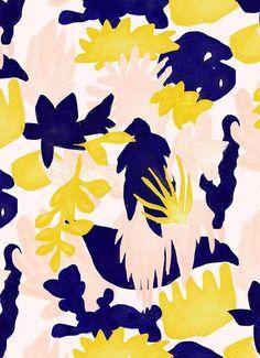 Print and Pattern. Elsa Boch/sweet/jaune New Patterns Yum. Illustration Inspiration, Pattern Illustration, Motifs Textiles, Textile Patterns, Floral Patterns, Surface Pattern Design, Pattern Art, Nature Pattern, Yellow Pattern
