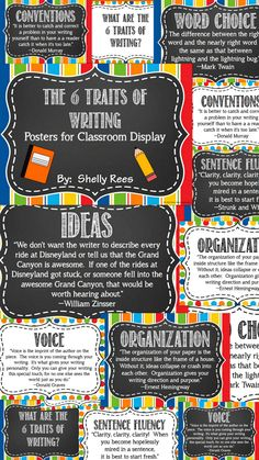 Six Traits of Writing is a staple in many teachers' approach to teaching writing. These colorful posters are perfect for display in the classroom to remind students of what the 6 Traits are and why they are important!  The set includes a quote for each trait (Ideas, Organization, Sentence Fluency, Conventions, Voice, and Word Choice). 2 versions of the posters: one version has a chalkboard background and the other has a white background.