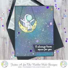 This project uses the Space- Infinity & Beyond set by The Rabbit Hole Designs! Check out my blog for more details on how I made this card!
