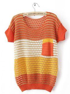 Color Block Short Sleeve Orange Sweater$37.00