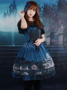 深い青色のロリータ ドレス ストラップ プリント シフォン ドレス - Milanoo.jp