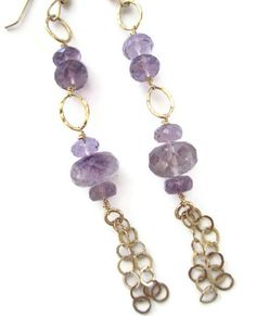 #faithmarcusdesigns Large moss amethyst rondelles are wired onto gold filled link chains, with three bubble gold filled link chains.   They measure 2.5 inches, total hanging length from the gold filled ear wire.   This amazing pair looks great with my Auralite pendant necklaces, in the Amala collection.
