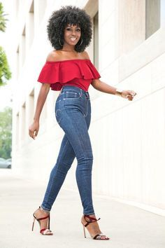 The versatility of a red off shoulder top and blue slim jeans makes them… Black Dress Red Heels, Red Off Shoulder Top, Blue Skinny Jeans, Beautiful Black Women, Lady In Red, Red Leather, Casual, My Style, How To Wear