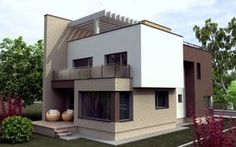 Fachadas de casas bonitas cuadradas                                                                                                                                                                                 Más Minimalist Home Decor, Minimalist Interior, Reforma Exterior, House Paint Exterior, Plan Design, Modern House Design, House Painting, Colorful Interiors, Home Interior Design