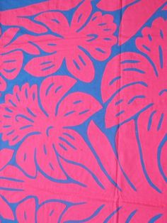 Hibiscus Tivaevae manu, hot pink on cobalt blue.