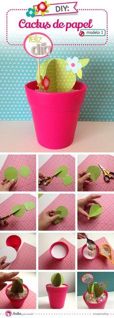 Cactus de Papel - Anita y Su Mundo - Caroli Schulz Scrapbook & Crafts New Crafts, Diy And Crafts, Diy For Kids, Crafts For Kids, Diy Love, Paper Plants, Diy Papier, Homemade Christmas Gifts, Mothers Day Crafts