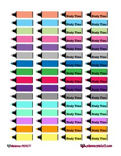 @planner.PICKETT: FREE student Study Time Printable Planner Stickers