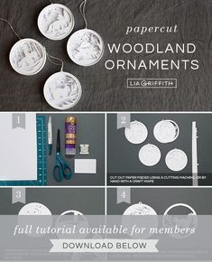 Paper Woodland Ornaments for Your Christmas Tree - Lia Griffith 3d Christmas Tree, Paper Christmas Ornaments, Woodland Christmas, Christmas Balls, Diy Ornaments, Xmas, Christmas Decorations Diy Crafts, Fun Diy Crafts, Paper Crafts