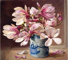 """Magnolia Flower painting by Anne Cotterill. Stunning large reproduction giclée print on canvas is 40cm x 46cm (18"""" x 16"""") and stretched onto a high quality wooden frame ready to hang on the wall. It is a Limited Edition of 50, supplied with certificate of authenticity signed on behalf of the Estate of Anne Cotterill. The painting depicts a large bunch of white and pink Magnolia blossom in a Chinese blue and white vase. Anne Cotterill Flower Art http://www.millhousefineart.com/"""