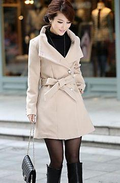 Tan Coat with Tie Waist