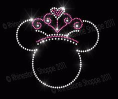 Iron On Rhinestone Transfer Princess Minnie Mouse with Tiara. For Lizzy