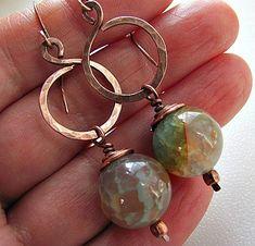Fire Agate & Copper earrings