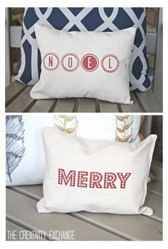 "Free printable for making these adorable ""Merry"" and ""Noel"" Christmas accent pillows.  Tutorial for how to print on fabric. {The Creativity Exchange}"