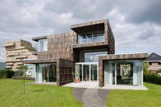 modern natural wooden house