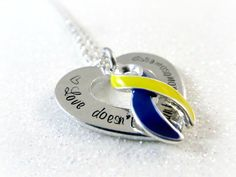 Down Syndrome Awareness Necklace - Love Doesn't Count Chromosomes - Navy Blue Yellow Ribbon - Women's Children's Jewelry - Wear Your Passion