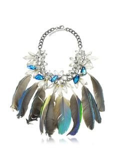 Anabela Chan Crystals and Feathers Necklace