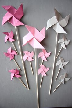 Toppers gateaux décoration Origami Rose gris Moulins Cake Topper 12 Wedding Custom Décoration Décor Rose Gris