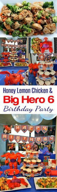 Delicious and Easy Recipe! Honey Lemon Chicken recipe and a Big Hero 6 Birthday Party from HappyandBlessedHome.com Perfect chicken recipe for entertaining guests, family gathering, easy supper or dinner meal you can make right in your kitchen.