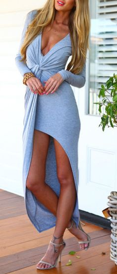 Wanna try the Long Sleeve asymmetric Dress? #gray dress