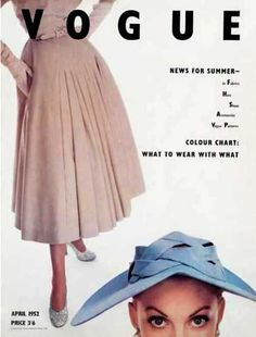 Vogue cover, April 1952. This cover is very interesting as one model has no head, and the other only has a head.
