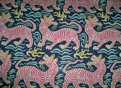 CLARENCE HOUSE Chinoiserie Tibet Dragon Linen Toile Fabric 10 yards Navy