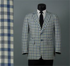 Vintage 1960s Shepards Check Jacket  Blue and by jauntyrooster, $85.00