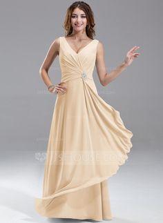 A-Line/Princess V-neck Floor-Length Chiffon Bridesmaid Dress With Beading Cascading Ruffles (007004569) - JJsHouse