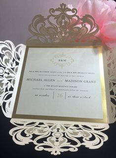 This luxurious laser cut and gold foil wedding invitation suite will wow all your guests. This invitation stands out about the rest with an opal shimmer four fold laser cut invitation with a matching shimmer cardstock invite that is layered on top of a gold foil accent layer. The invitation suite is very elegant and customizable to any wedding theme/color. What is included in the suite? 6x6 2 layer laser cut invitation (any colors) Gold or Silver Foil Accent Layer Opal metallic envelope...