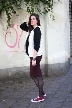 bomber jacket: Pimkie - pencil skirt: H&M - sneakers: Converse - watch: ISMY pictures by Paulien I guess this is what . Pantyhose Outfits, Black Pantyhose, Tights Outfit, Nylons, Pencil Skirt Outfits, Pencil Skirt Black, Pencil Skirts, Modest Casual Outfits, Fall Outfits