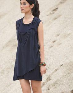 Handbeaded silk dress blue AS123 by JulyS on Etsy, $98.00