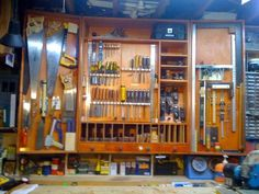 I finally got around to making a Hand Tool cabinet for my small shop, modifiying the design by Jan Zoltowski that FWW offers. It has really helped get things organized! I have also added a new MLCS. Woodworking Power Tools, Woodworking Books, Fine Woodworking, Woodworking Projects, Woodworking Garage, Welding Projects, Antique Tools, Old Tools, Hand Tools Names