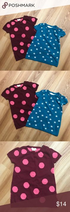 Adorable sweater dresses / tunics Maroon with pink polka dots and blue with white stars, cute little sweater dresses Dresses Casual