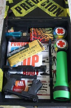 Create a Zombie Survival kit for loved one.  GAG GIFT   (read more) I wish I had a boyfriend who was as obsessed with Zombies as I am!