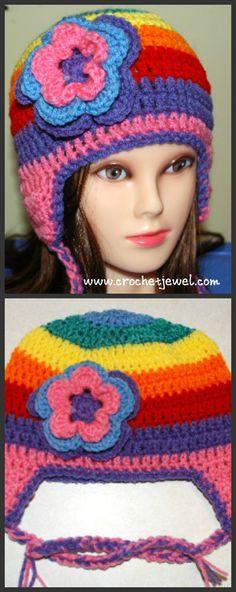 Rainbow Crochet Earflap Hat | AllFreeCrochet.com
