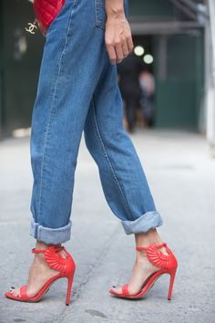 Pin for Later: New York's Street Style Accessory Game is Hard to Beat  Our hearts are aflutter over these bright coral Oscar Tiye pumps.