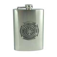 @ShopAndThinkBig.com - This 8oz stainless steel flask features a unique pewter fire fighter logo emblem. The standard firefighter emblem stands out on this high quality hip flask. This flask is a great commemorative flask and is also very unique and functional. http://www.shopandthinkbig.com/8oz-fire-fighter-emblem-flask-top-shelf-flasks-p-438.html