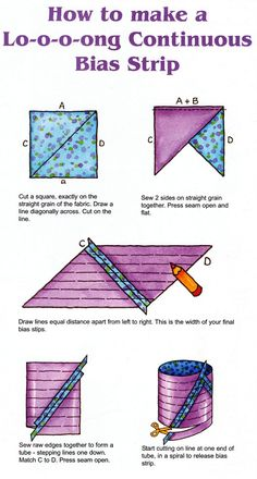 Tips on how to make your own bias binding for embroidery and sewing machine Sewing Lessons, Sewing Hacks, Sewing Crafts, Sewing Projects, Sewing Basics, Sewing Tips, Quilt Binding Tutorial, Bias Binding, Quilt Tutorials
