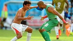 RECIFE, BRAZIL - JUNE 20: Yeltsin Tejeda of Costa Rica (L) celebrates with teammate Patrick Pemberton after defeating Italy 1-0 during the 2014 FIFA World Cup Brazil Group D match between Italy and Costa Rica at Arena Pernambuco on June 20, 2014 in Recife, Brazil. (Photo by Laurence Griffiths/Getty Images)