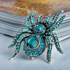 Blue Zircon Crystal Stretch Cocktail Spider Ring by jewelryavon