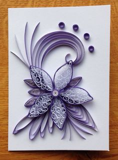 Quilling Birthday Card Purple lilac and white