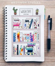 Washi tape has become one of the most popular bullet journal supplies. displaying your washi tape collection in your bullet journal not only looks pretty, Diy Bullet Journal, Bullet Journal Washi Tape, Bullet Journal Spread, Bullet Journal Bookshelf, Bullet Journal How To Start A Simple, Bullet Journal Ideas 2018, Bullet Journal Materials, Books To Read Bullet Journal, Journal Layout