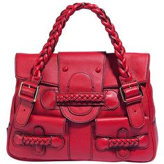 Valentino-Garavani Bag - Red Braided Handle Bag