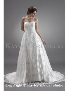 Satin and Lace Sweetheart Chapel Train A-Line Wedding Dress with Embroidered